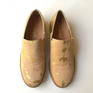 Free People 100% Leather Gold Shoes